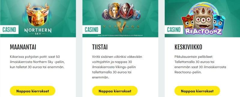 casinohuone kampanja ilmaiskierrokset